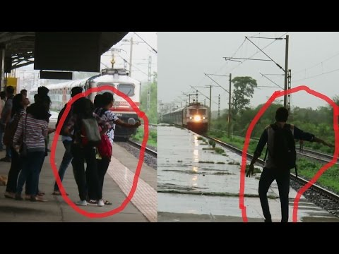 Silly Boy vs Silly Girl : STUPIDITY : Firozpur Janta Express vs Saurashtra Express : DON'T TRY THIS