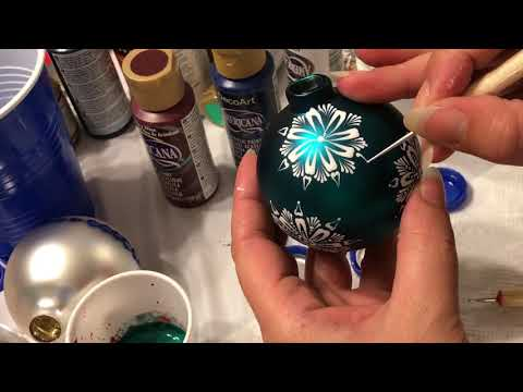 Tutorial turquoise hand painted mandala glass ornament by Gitka Schmidtova