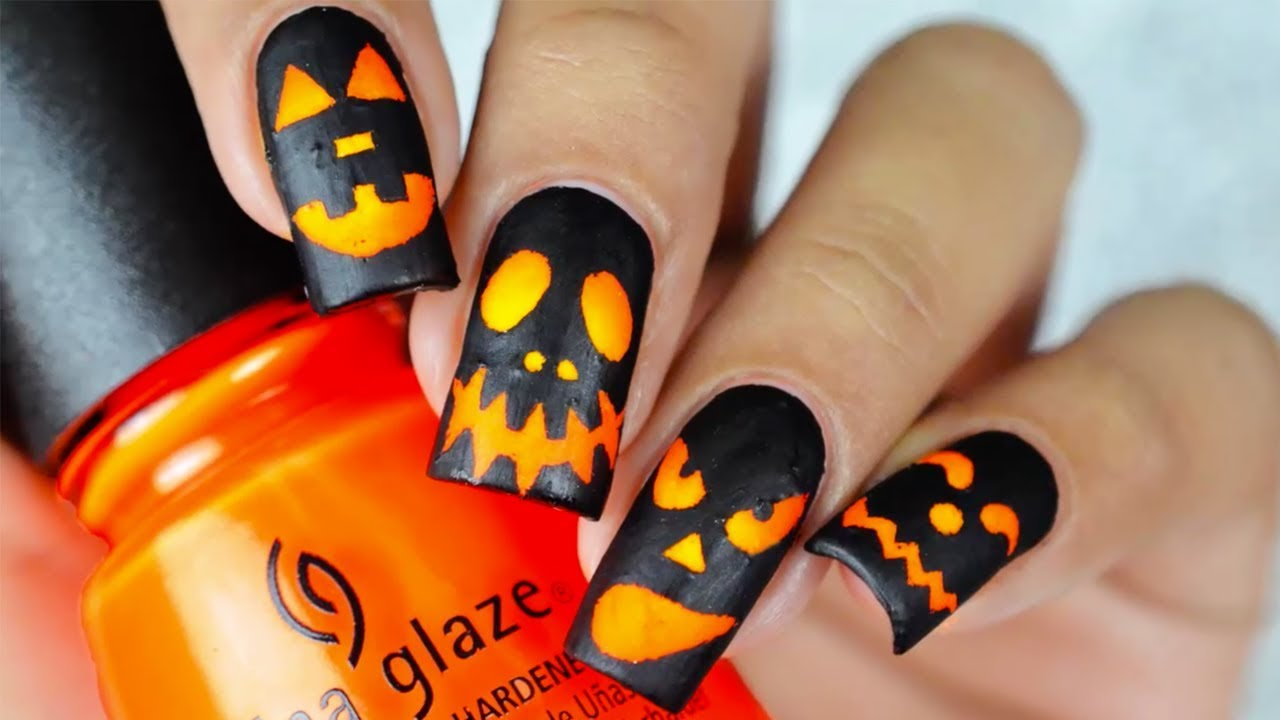 Jack-O-Lantern Nails - YouTube