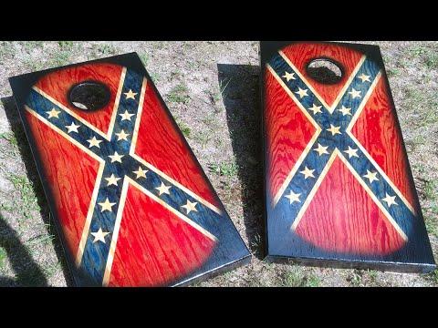 Making rebel flag cornhole boards