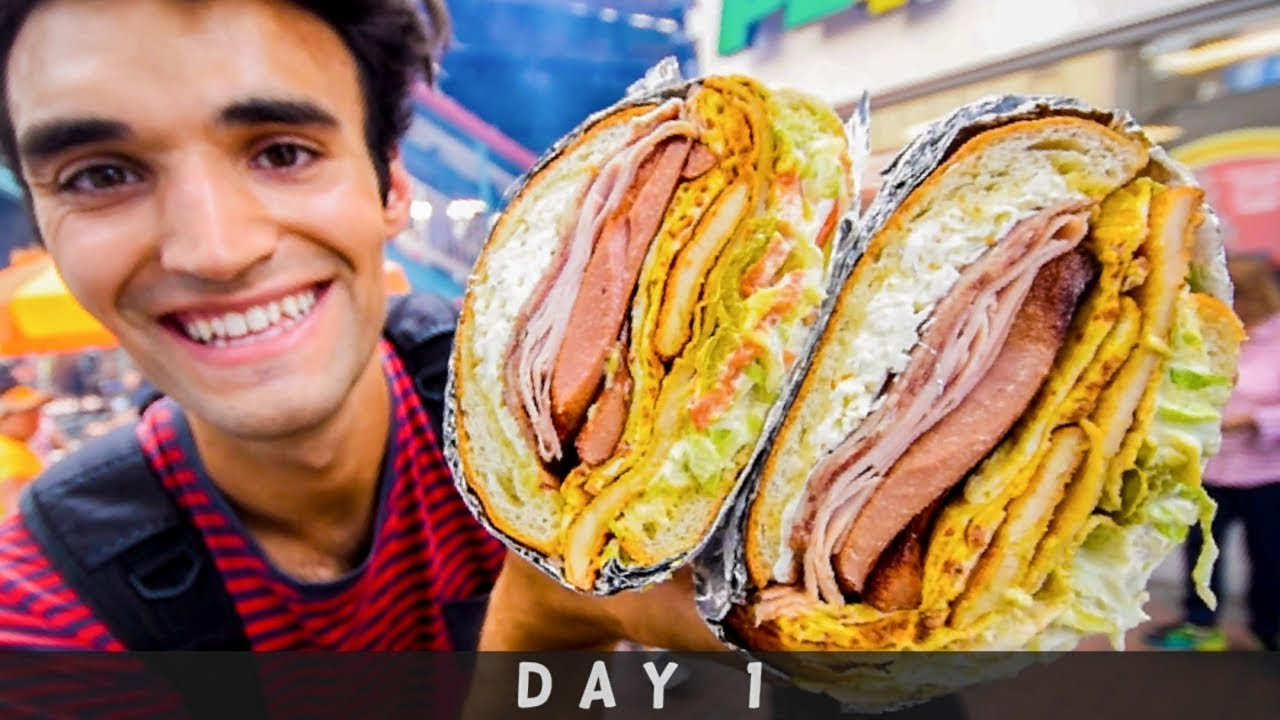 LIVING on STREET FOOD for 24 HOURS in NYC! (Day #1)