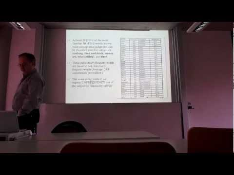 """""""A Feeling for the Word"""" A talk given by Prof. Chris Westbury on Feb 20th, 2013"""