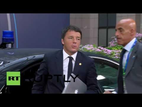 Belgium: Merkel, Hollande, and Renzi arrive for Euro Council meeting on