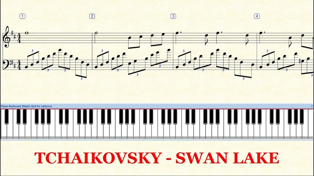 Piano Tutorial Sheet - TCHAIKOVSKY Swan Lake - HD