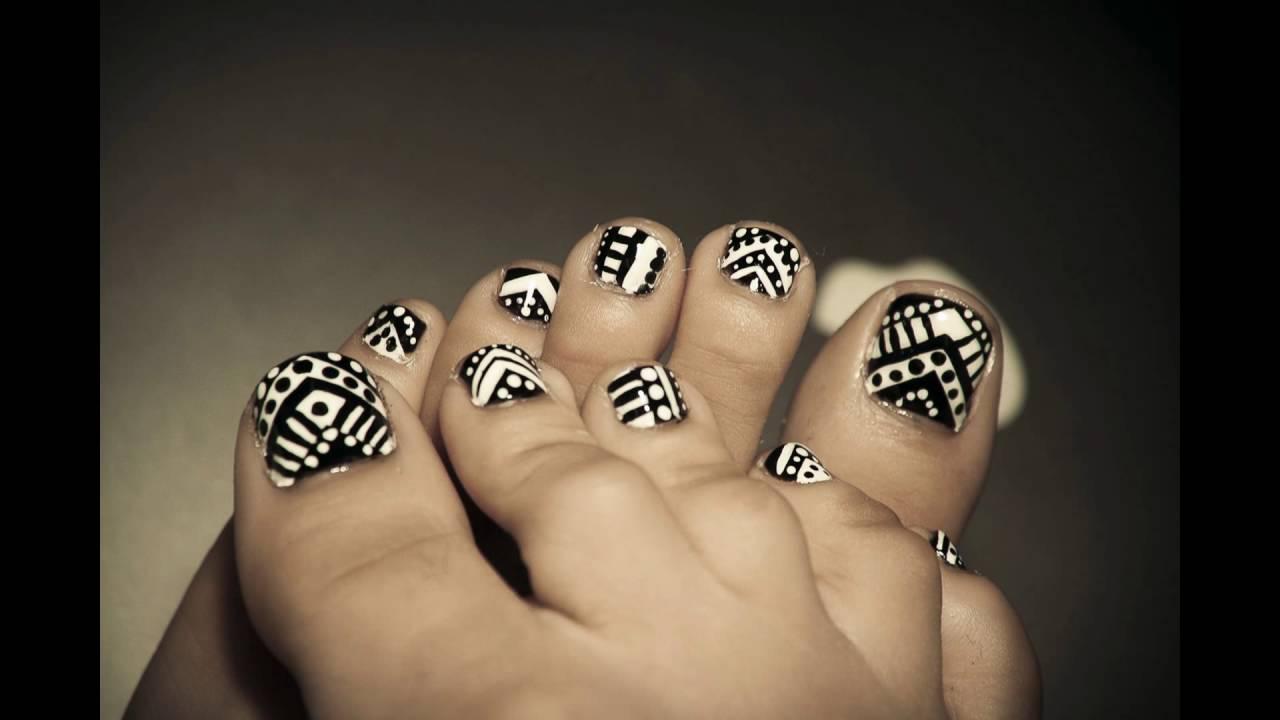 - Black And White Toe Nail Art - YouTube