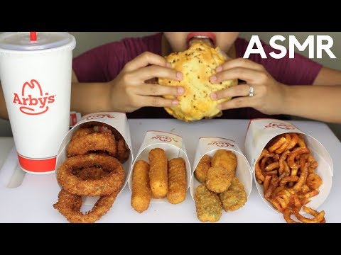 ASMR Arby's Roast Beef Sandwich, Onion Rings, Jalapeno Poppers EATING SOUNDS