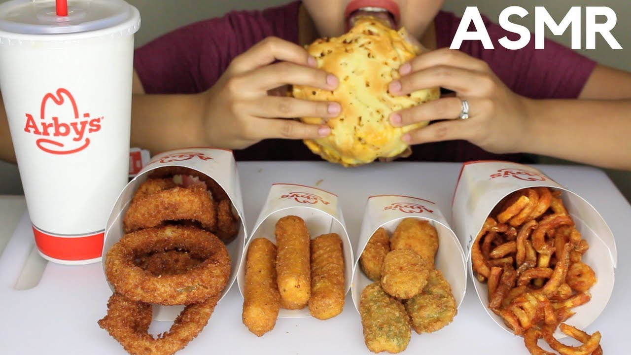 Asmr Arbys Roast Beef Sandwich Onion Rings Jalapeno Poppers Eating Sounds