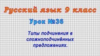Русский язык 9 класс (Урок№36 - Типы подчинения в сложноподчинённых предложениях.)