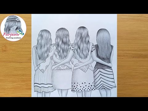 Best friends❤ pencil Sketch Tutorial || How To Draw four Friends Hugging Each other
