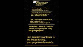 A Long Time Ago in a Galaxy Far Far Away - Google Search Eastar Egg for Star Wars