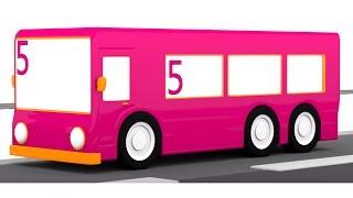 Розвиваючі мультики для дітей від року. 4 машинки. Автобус №5