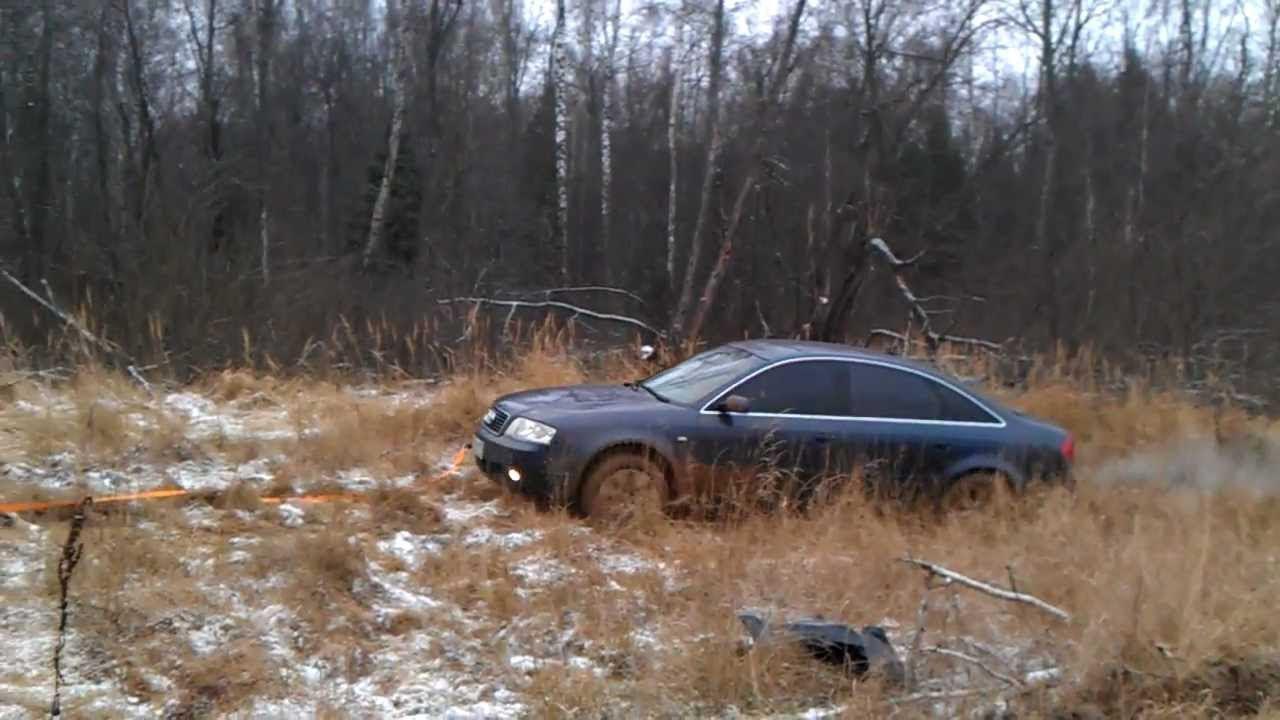 Автомобиль Ауди А6 борется с болотом. Пройдет или нет?