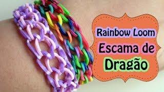 Repeat youtube video Rainbow Loom - Pulseira Escama de Dragão