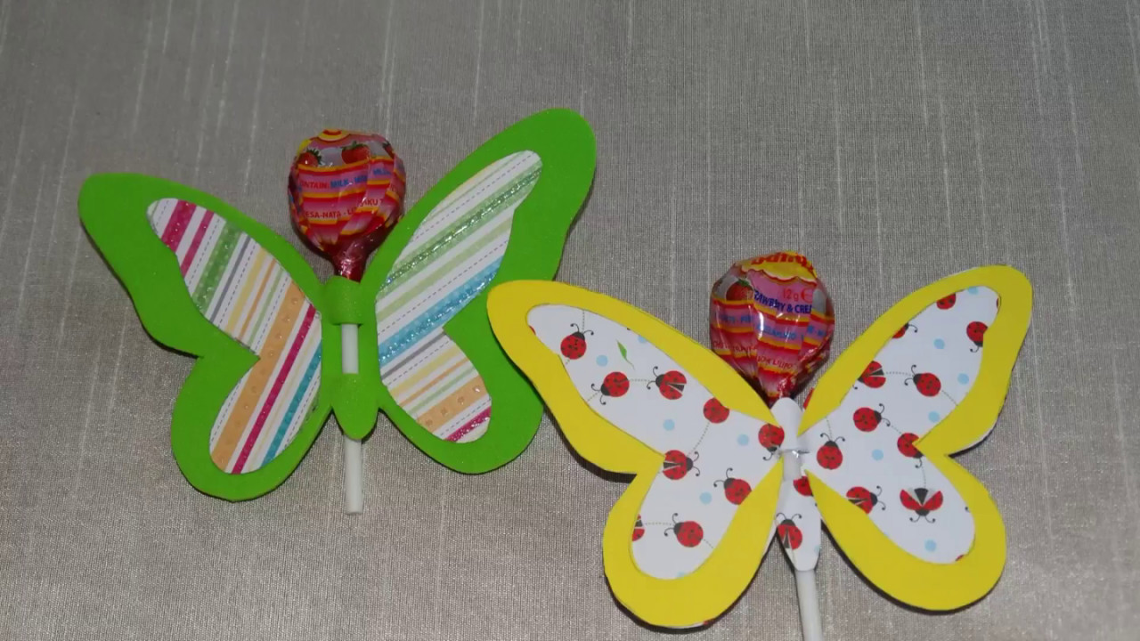 Lollipop craft-DIY lollipop butterfly.How to make tutorial.