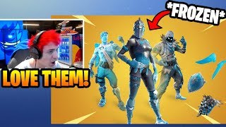 Ninja Reacts To *NEW* FROZEN Red Knight, Raven, & Love Ranger SKINS BUNDLE | Fortnite Moments #50