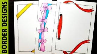 Ribbon draw Border designs on paper border designs project work designs borders for projects