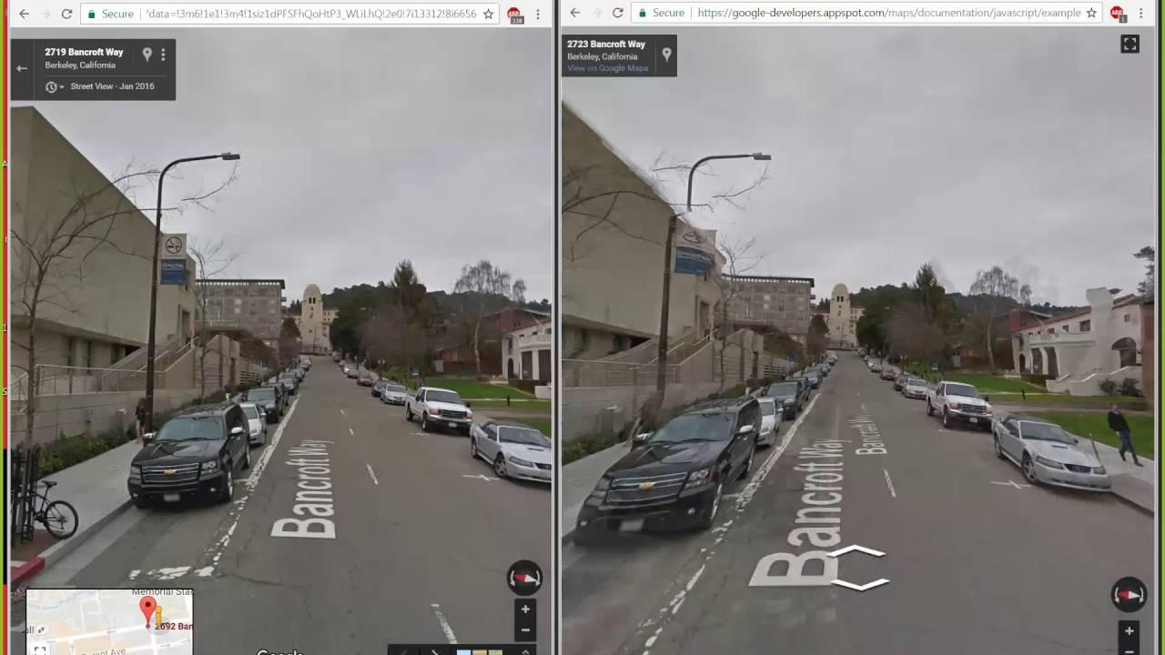 Street View transition crabbing bug in API vs google com