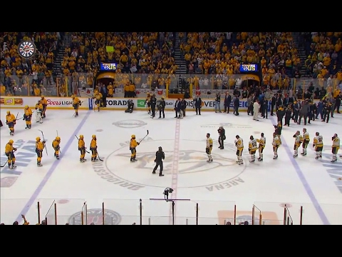 Handshakes: Penguins and Predators show respect after Stanley Cup Final
