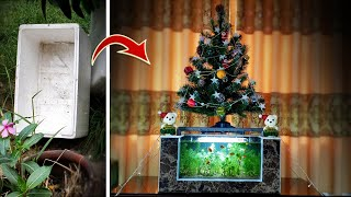 Amazing Ideas Using Cement and Styrofoam - Recycle Styrofoam Into Aquarium Fountain With Pine Tree