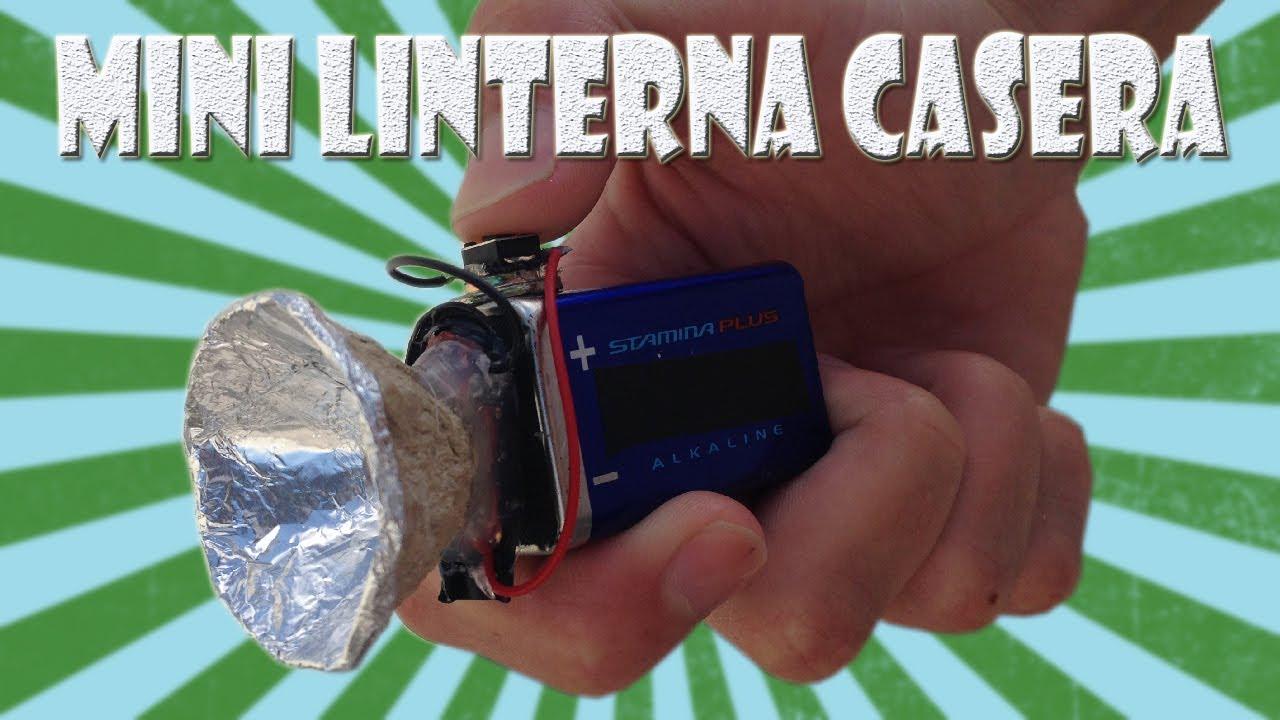 Como Hacer una Mini Linterna Casera con Batería de 9v - YouTube
