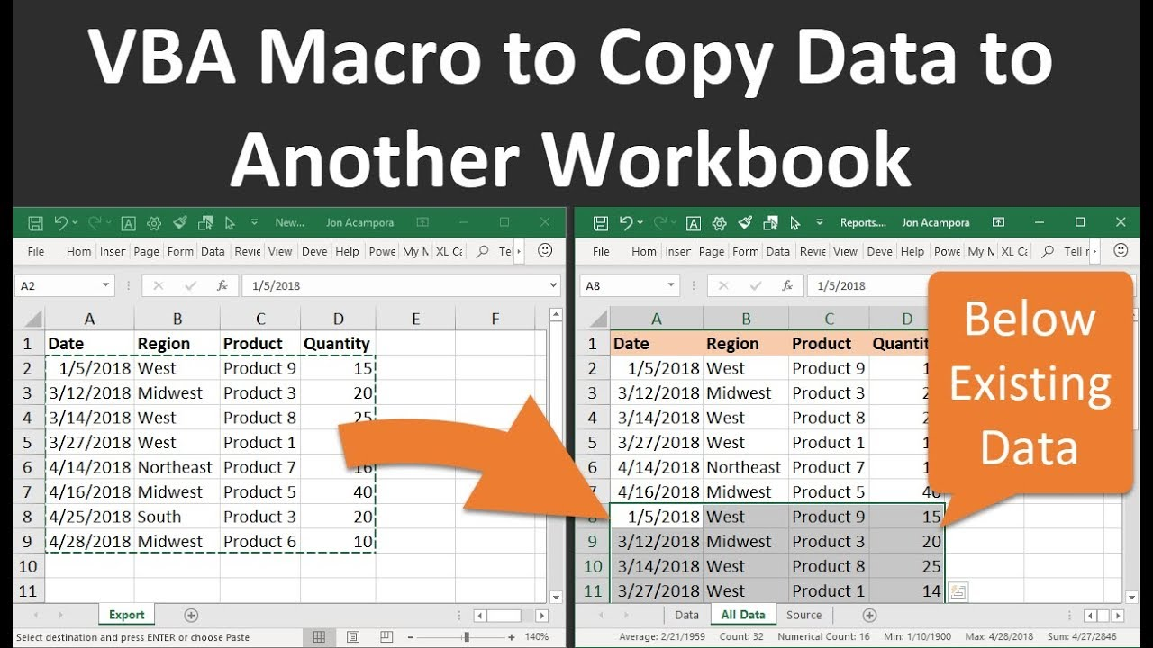 How to Use VBA Macros to Copy Data to Another Workbook in Excel