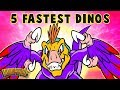 Top 5 Fastest Dinos - Dinosaur Songs for Kids from Dinostory by Howdytoons