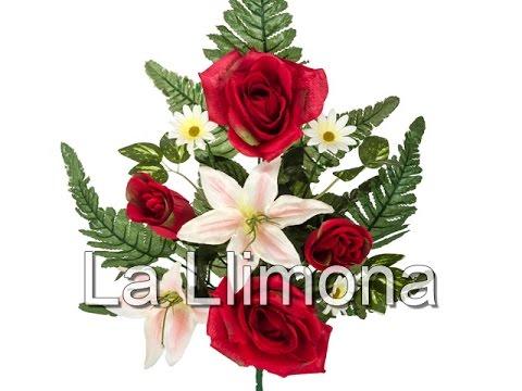 ramos ramo artificial flores rosas rojas y lilium la llimona