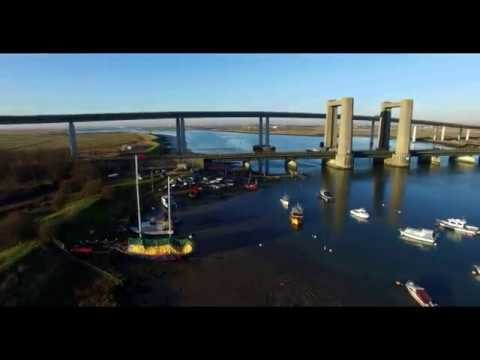 dji phantom 3 flying over water round kings ferry bridge sheppey