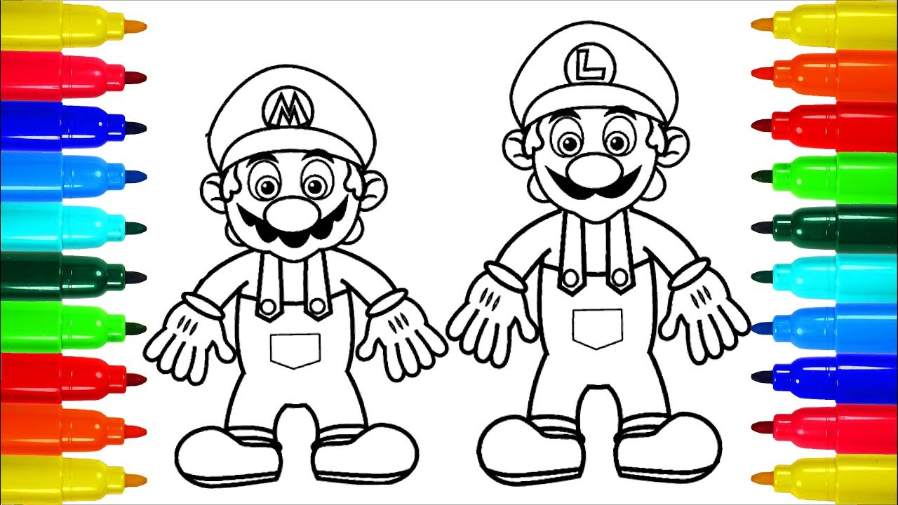 Limpurtikles Mario Colored: Mario And Luigi Simpsons Coloring Pages