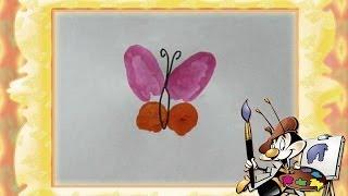 Рисуем пальчиковыми красками Бабочка(Рисуем пальчиковыми красками (пальчиками). Рисовалки для детей 2 лет. Уроки рисования для малышей Веселые..., 2014-05-05T05:23:04.000Z)