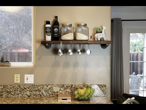 DIY Rustic Shelf from reclaimed wood and pipes