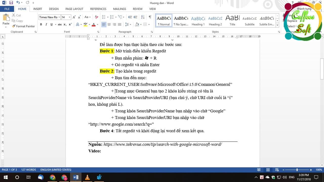 Thủ thuật Word, Cách tìm kiếm bằng Google trong Microsoft Word