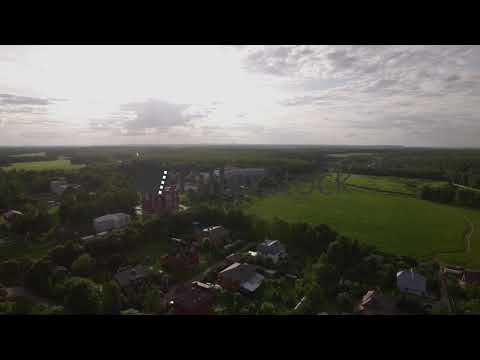 Aerial scene of village with Ascension Cathedral in Lukino, Russia