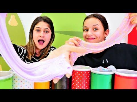 Ayşe ve  Asu Ela slime yapma challenge. Eğlenceli video
