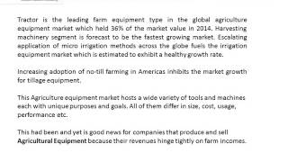 Farm Equipment Market Research Report Forecast 2015 2020