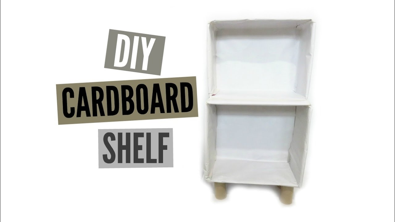 diy cardboard shelf (side table or storage) - youtube