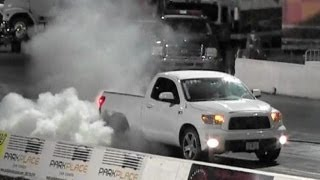 Supercharged TRD Tundra vs Supercharged TRD Tundra - 1/4 mile Drag Race Video - RoadTestTV ®