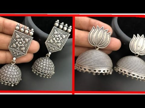 Silver Beautiful Jhumka earrings Design Ideas for Kurta/Junk Black Metal Earrings