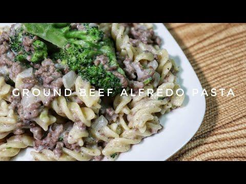 HOW TO COOK GROUND BEEF ALFREDO PASTA | Kat's Empire |