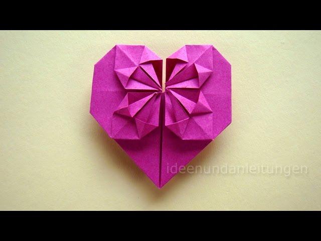 Favorit Origami Anleitung: Herz falten - Geschenk selber falten mit Papier VD78
