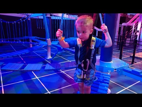 Dean, Ashley, and Sarah on indoor rope and zipline course - July 23, 2016