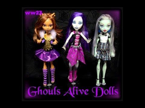 Monster High Ghouls Alive Clawdeen Wolf, Spectra Vondergeist and Frankie Stein Doll Review