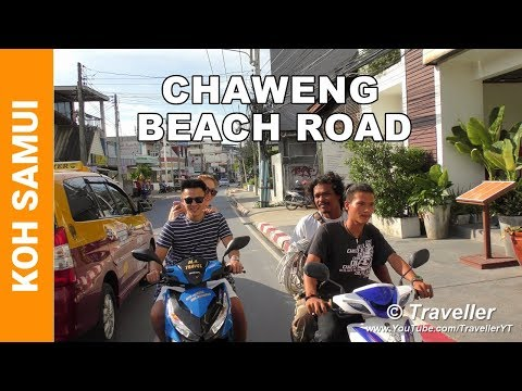 Chaweng Beach Road by Day – Koh Samui attractions – Chaweng Beach Holiday – Thailand 4K Video