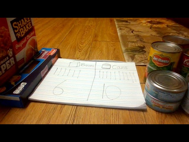 Counting cans and boxes activity