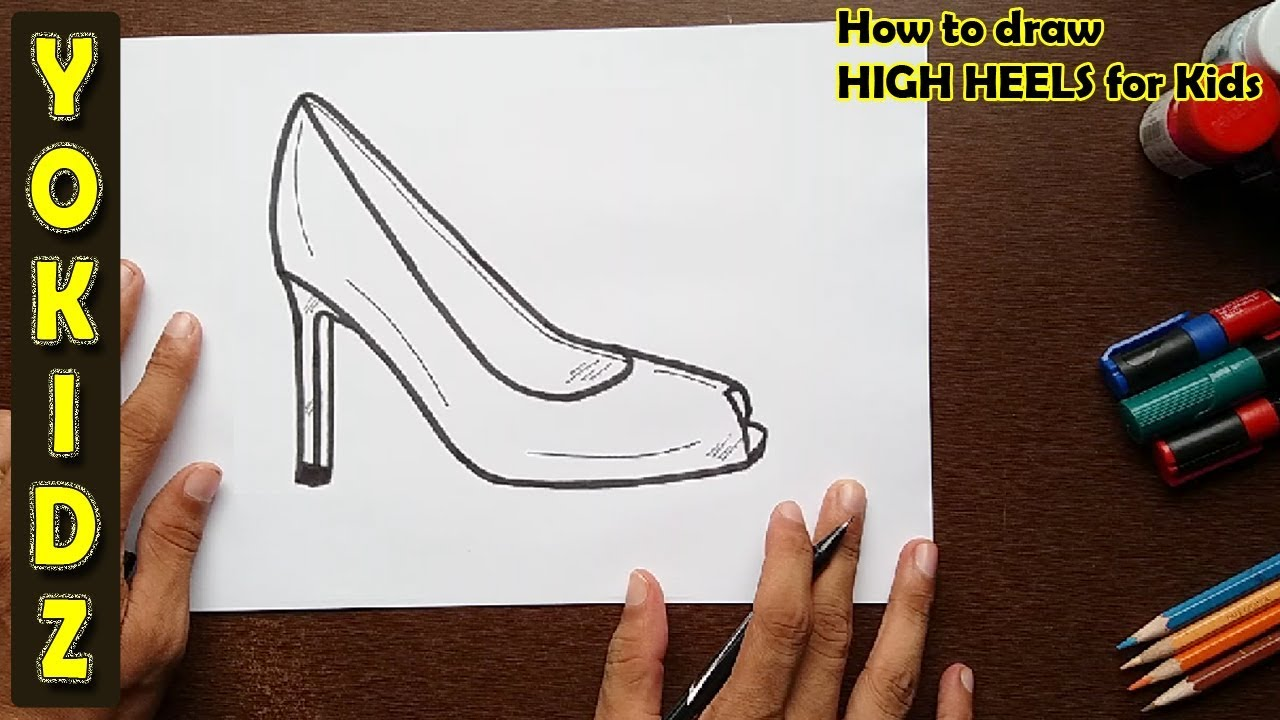how to draw high heels for kids