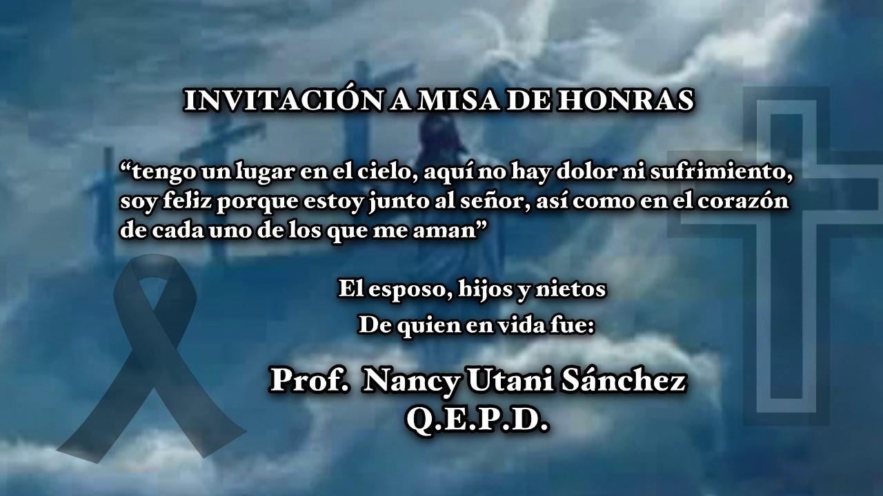 Dre Apurímac 2016 Invitación A Misa De Honras Nancy Utani Sánchez