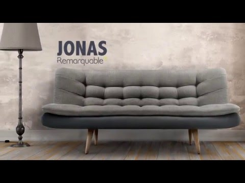 canap scandinave convertible avec surmatelas jonas de la marque remarquable youtube. Black Bedroom Furniture Sets. Home Design Ideas