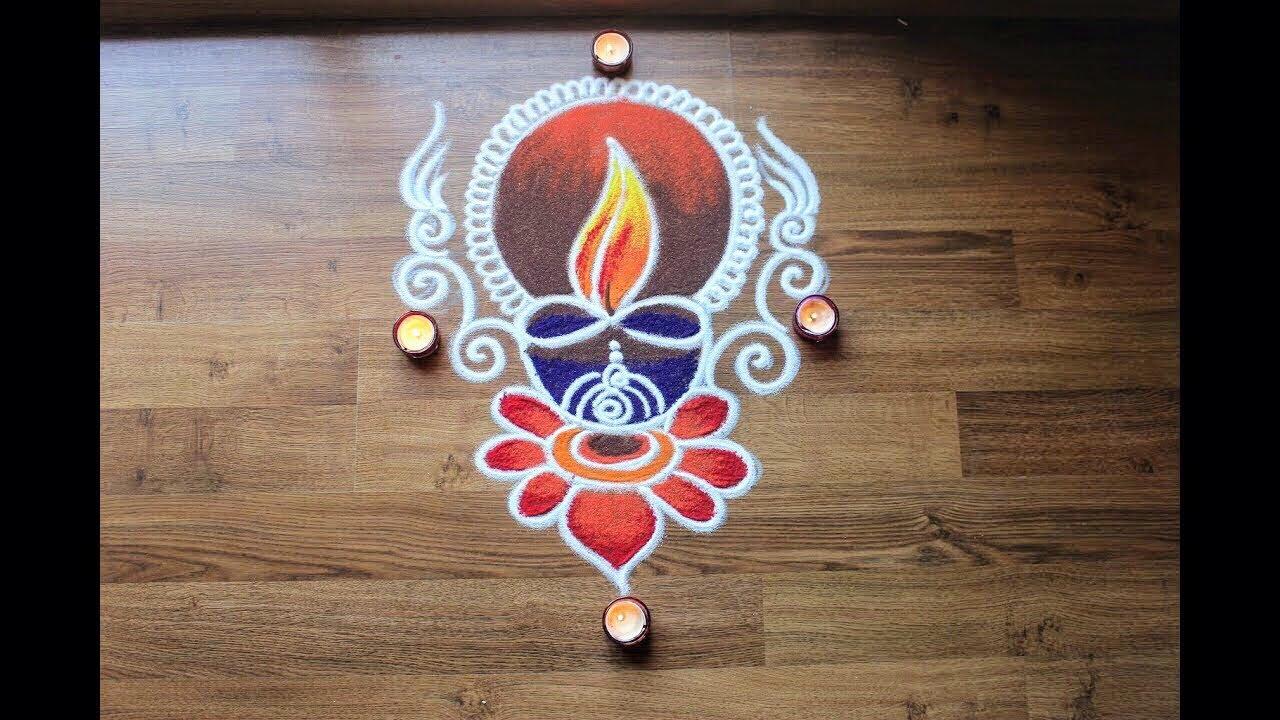 Easy Diya Rangoli Designs For Diwali  Diwali Rangoli Images Designs Diwali Rangoli