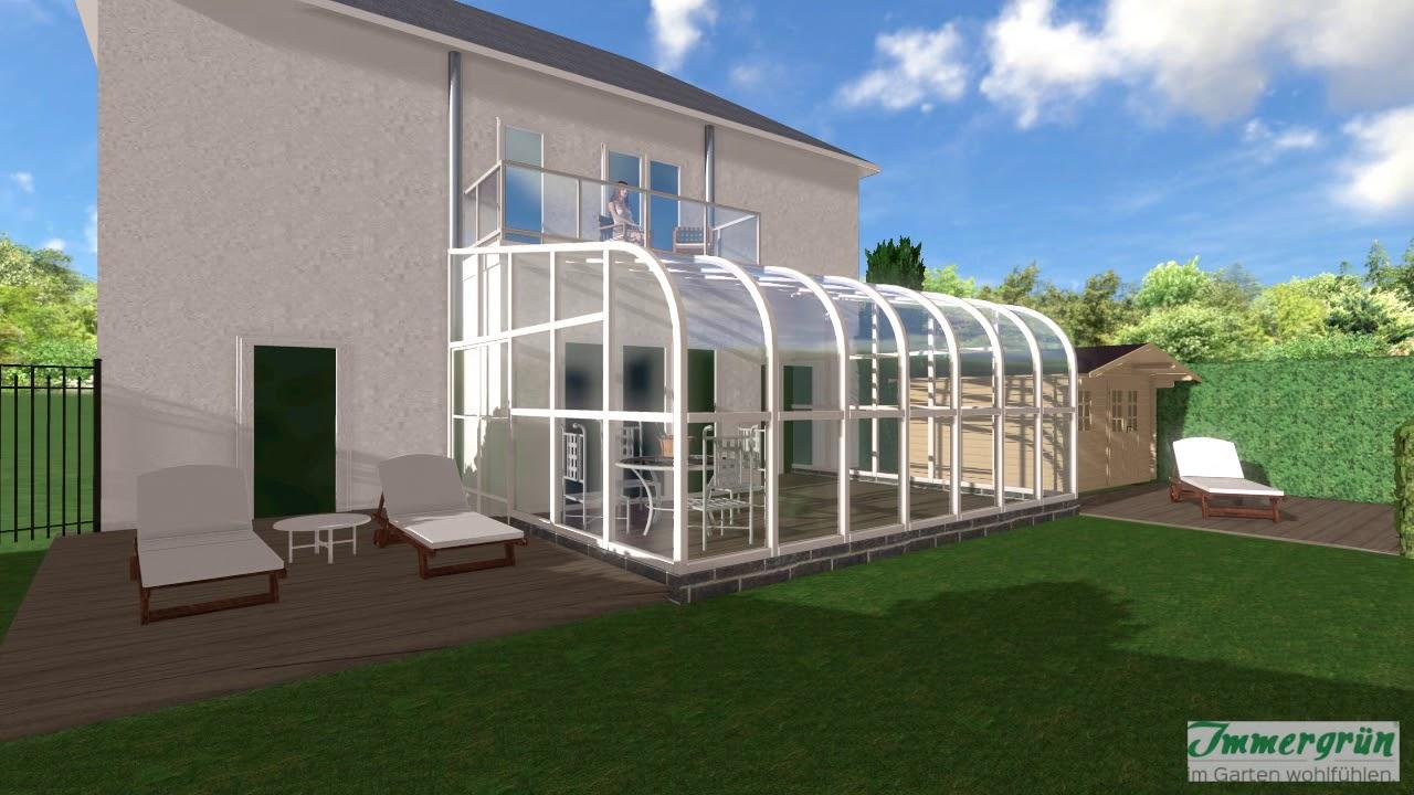 Garten mit Pool, Wintergarten und Holzdeck - YouTube