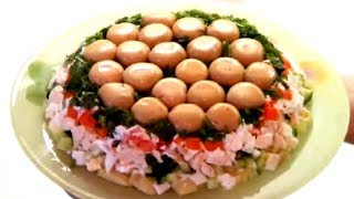 #Рецепт салата со свежим огурцом и грибами (Пошаговый рецепт) Вкусно и Красиво, готовим дома
